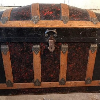 "34"" - Red Barrel Top Trunk - 1873 Patent Date Lock - Furniture"
