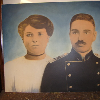VERY OLD PAINTING OF SOLDIER & WOMAN........