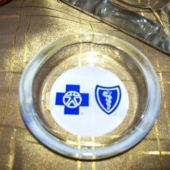 small glass ashtray Blue Cross Blue Shield