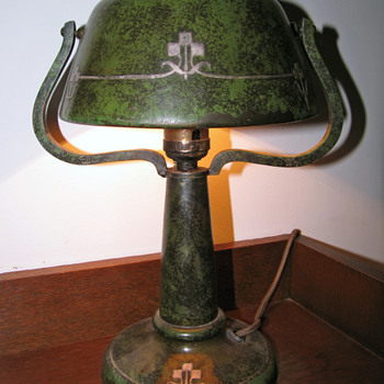 "Heintz Art Metal Company ""Helmet"" Lamp w/ Verde Patina - Arts and Crafts"