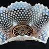Duncan & Miller Glass bowl and candles holders Pink Opalescent Hobnail