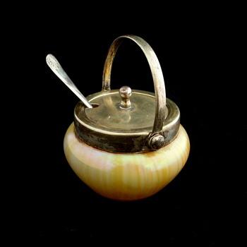 Rindskopf Marbled Mustard Pot - Art Glass