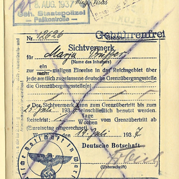 another passport with a Gestapo border stamp... - Paper