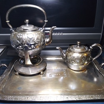 Sterling silver tea set and platter - Silver