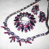 demi parure in shades of Fuchsia, Pink &  Purple by  SHERMAN