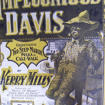 "VINTAGE 1899 SHEET MUSIC, RAG-CAKEWALK, ""IMPECUNIOUS DAVIS"" BY KERRY MILLS - Music Memorabilia"