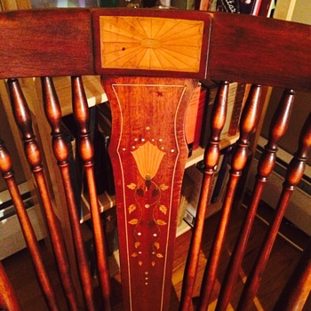 Cherry wood antique rocker with inlay