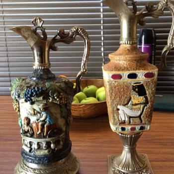Vintage,hand painted,Italian,wine ewers - Bottles