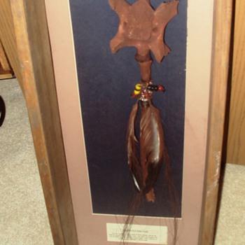Magical Wand or Shamans Mask of Buffalo vertebre  - Native American