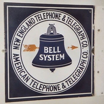 New England Telephone & Telegraph Co. Square POrcelain Sign Yellow Arrow