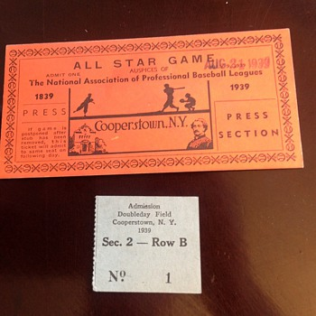 Super rare press box ticket from 1939. Cooperstown game