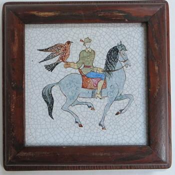 Pair of Tiles, Man on Horseback with Falcon, Dog & Deer, Old Oak Frames, Crackle