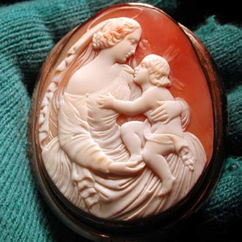 Huge cameo of Mother Mary and Jesus - Victorian Era