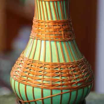 Awaji Wrapped Vase with original price tag. - Asian