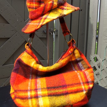 ORANGE PLAID HAT AND BAG - Hats
