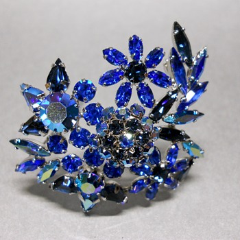Aurora Borealis Sherman Brooch - Costume Jewelry