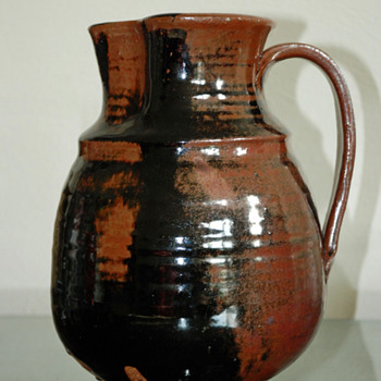 Glazed Redware Pitcher with mystery mark incised on bottom. - Pottery
