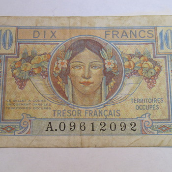 French Francs Pretty Paper Money