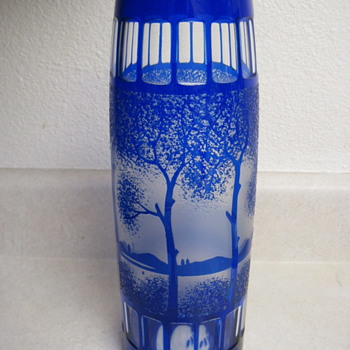 "12"" Cobalt Blue Cylinder Vase With Tree Scenery Signed Daum Cross Of Lorraine Mark - Art Glass"