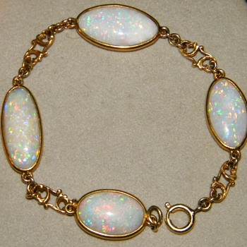 Antique Opal 15k Bracelet 7.75 - Fine Jewelry