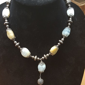Silver moss agate necklace  - Fine Jewelry