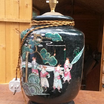 Very Tacky Chinese CERAMIC Temple Jar Style Lamp Base - Lamps
