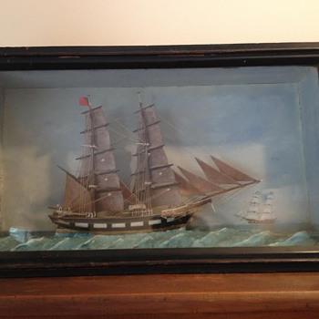 Ship Folkart in Shadow Box
