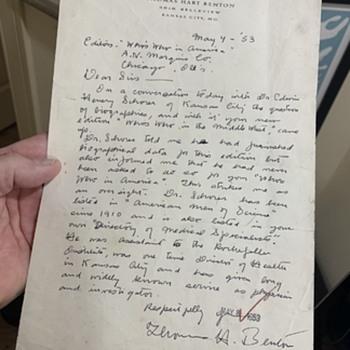 Thomas Hart Benton Letter - Paper