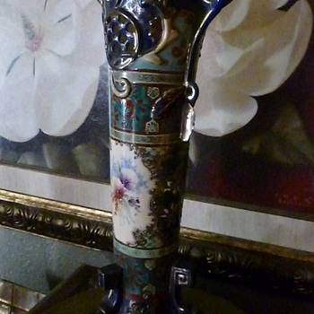 My favorite vase beautiful tall cobalt blue with gold trim and pansies. - Asian