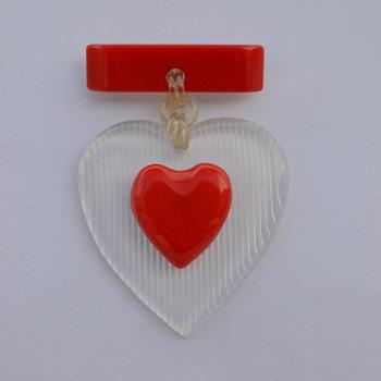 'MacArthur' Heart Pin - 1940's - Art Deco