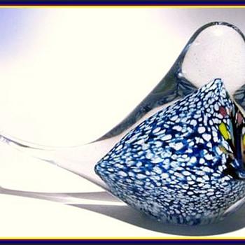 UNKNOWN Art Glass Bird - Signed - JP 97 - Art Glass