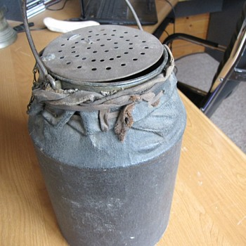 GRANITEWARE MINNOW BUCKET COVERED IN A CANVAS INSULATOR