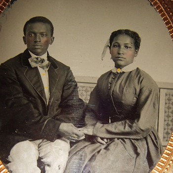 Beautiful Civil War era tintype of African American Couple - Photographs