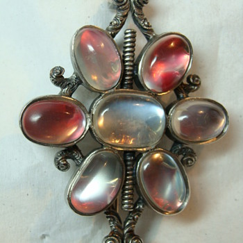 Large Antique Foiled Moonstone Brooch - Fine Jewelry
