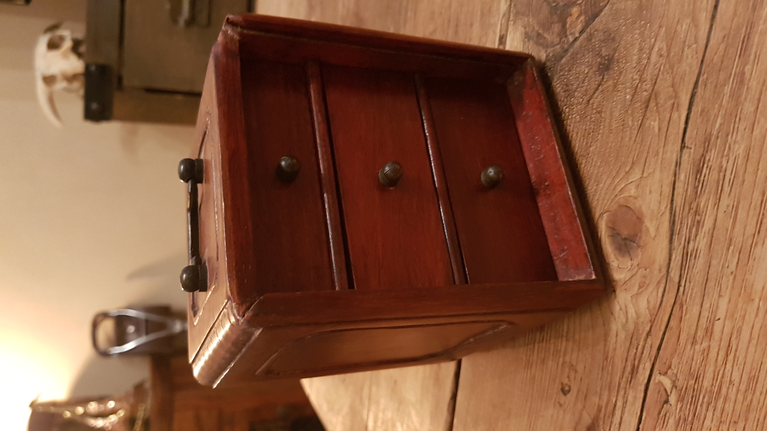Wooden Box Tea Caddy Hidden Drawers X 3 Box Dovetail