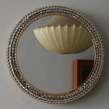 1960's Bakalowits Brass glass Crystal  Backlit Wall Mirror  - Furniture