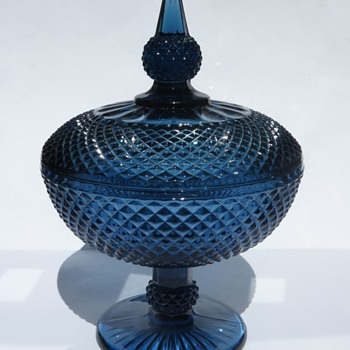 Blue Glass Footed Covered Dish / Compote in Diamond pattern - Glassware