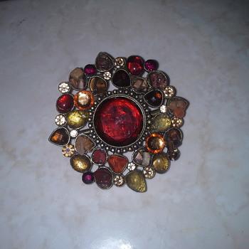Vintage Semi-Precious Jeweled Belt Buckle - Costume Jewelry
