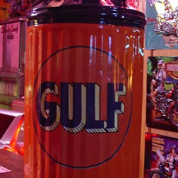 Restored Ten Gallon Oil Can...Theme Is Gulf - Petroliana