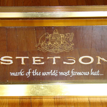 Vintage Stetson Hat Co electric sign with etched glass - Signs