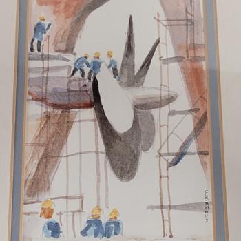 Watercolor of Ship Factory - Fine Art