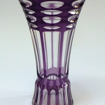 Cut to clear purple vase - Art Glass