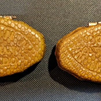 1920's Deco Style Embossed Leather Pill Boxes El Prado J. DURAN - Art Deco