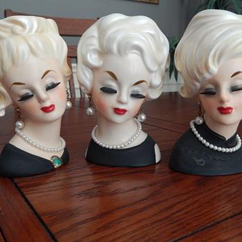 Platinum blondes - Lady Head Vases - Mid-Century Modern
