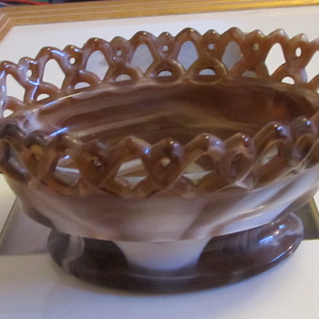 Brown swirl glass dish with arrow - Art Glass