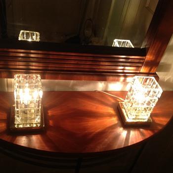 A pair of Portuguese cut glass boudoir lamps