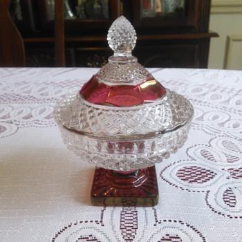 Indiana Ruby Flash Diamond Cut Candy Dish - Glassware