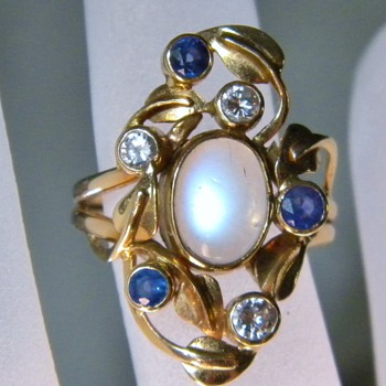 Antique Arts & Crafts Ceylon Moonstone, Diamond & Ceylon Sapphire 14k Ring 28mm x 18mm - Fine Jewelry