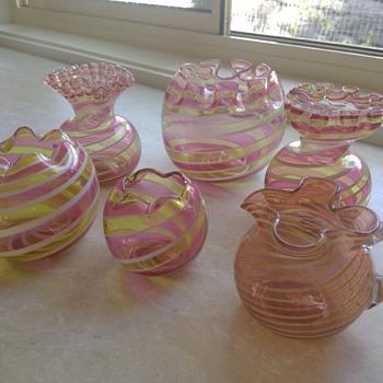 Stevens & Williams Victorian Bowls / Vases and Jug - Art Glass