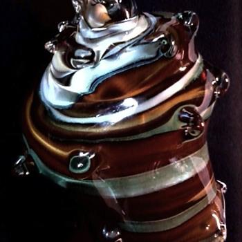 "Large 9"" Art Glass Striped Conch Shell /Unknown Maker/ Circa 20th Century - Art Glass"
